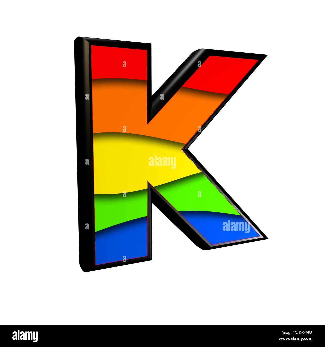 letter with rainbow texture - K - Stock Image