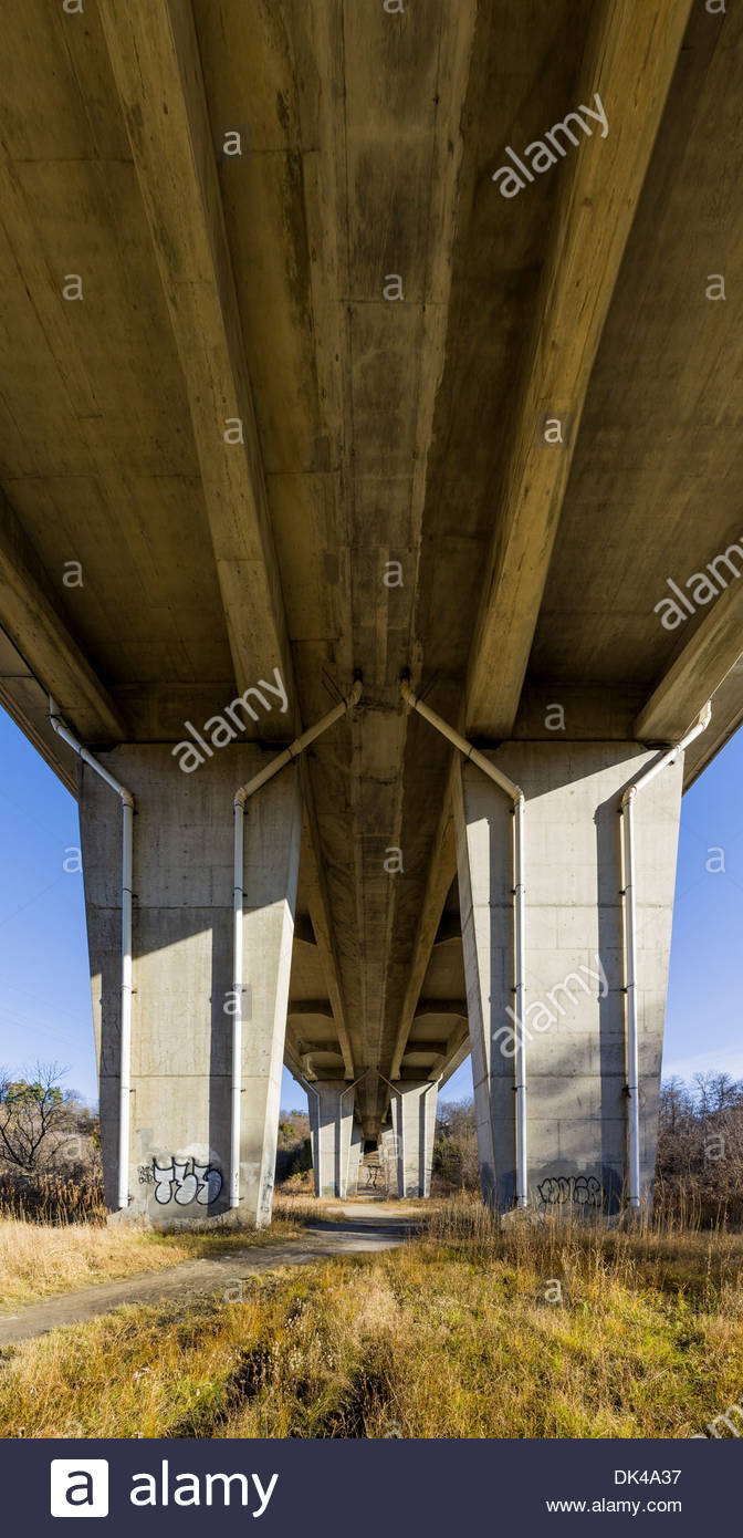 Under the cathedral like Kingston Road bridge over the Rouge Valley in Rouge National Urban Park in Toronto Ontario Canada. - Stock Image