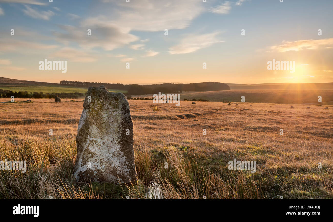 The Fernacre Stone Circle at the foot of Roughtor on Bodmin Moor in Cornwall - Stock Image