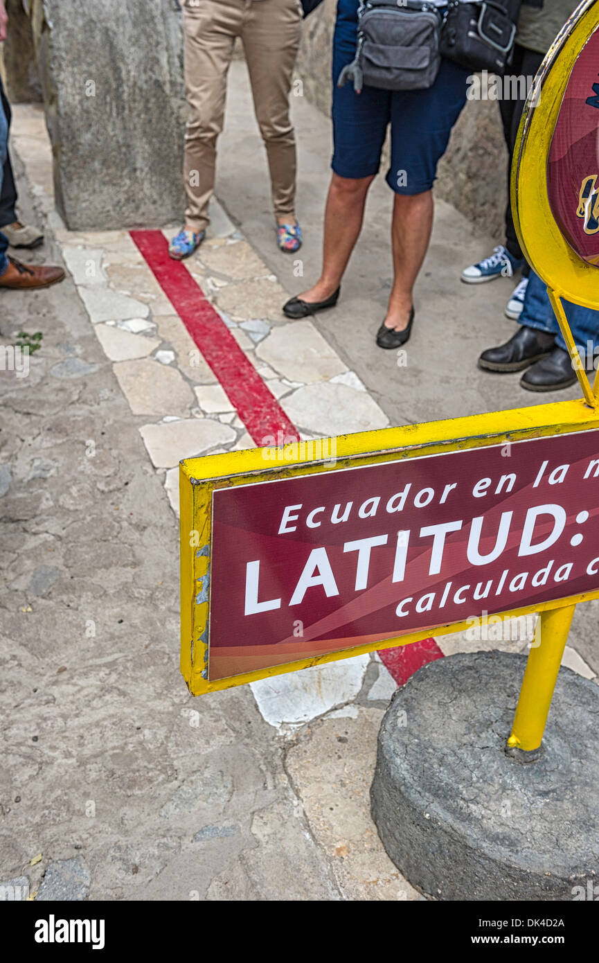 Standing on the  equator in Ecuador - Stock Image