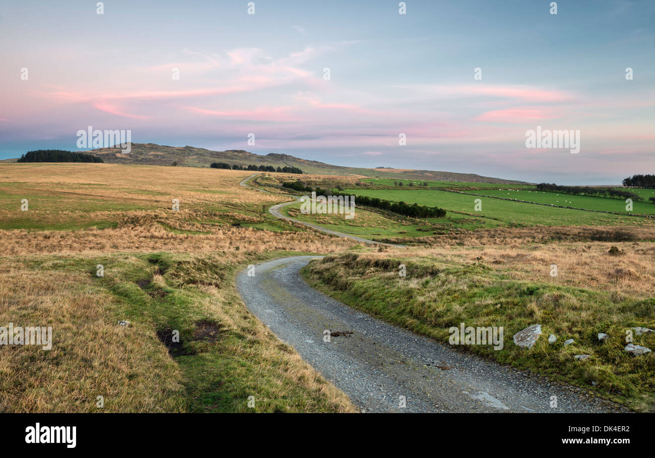 View of Bodmin Moor at dusk, looking out towards Brown Willy which is the highest point in Cornwall - Stock Image