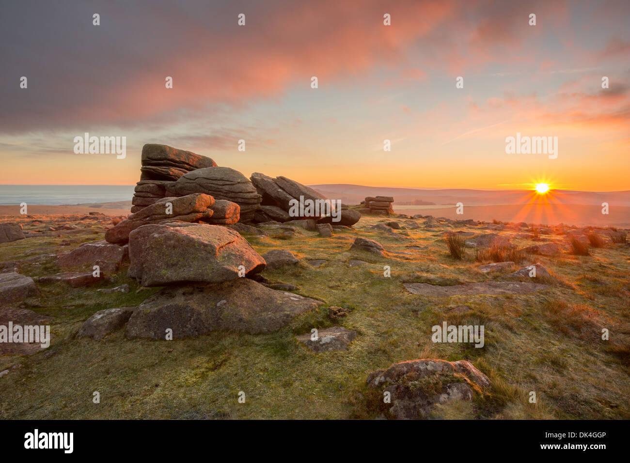 Sunrise at Row tor Dartmoor National Park Devon Uk - Stock Image