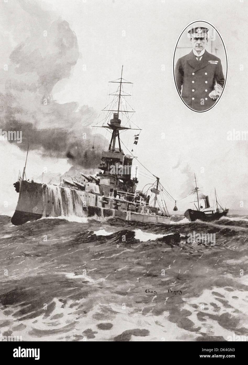 Admiral Sir John Jellicoe's flagship, Iron Duke, being coaled at sea - Stock Image