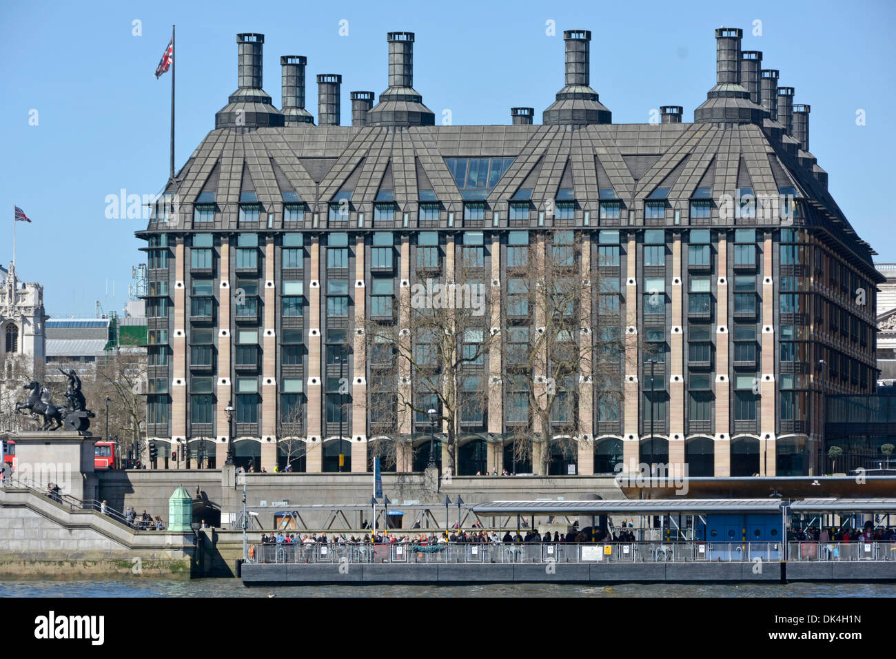Portcullis house London office complex for UK members of Parliament beside River Thames includes Westminster Pier - Stock Image