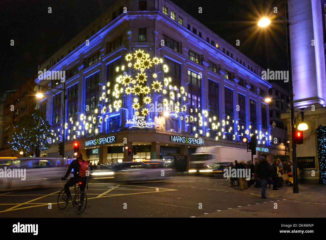 Christmas illuminations on Marks and Spencer Oxford Street store - Stock Image