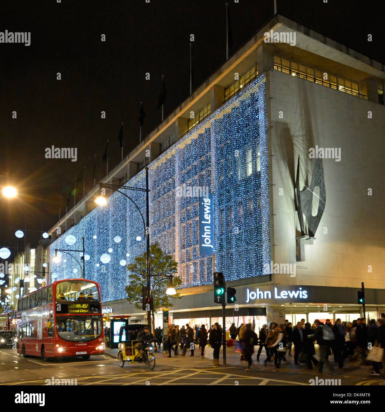 john lewis department store in oxford street with christmas lights and barbara hepworth sculpture winged