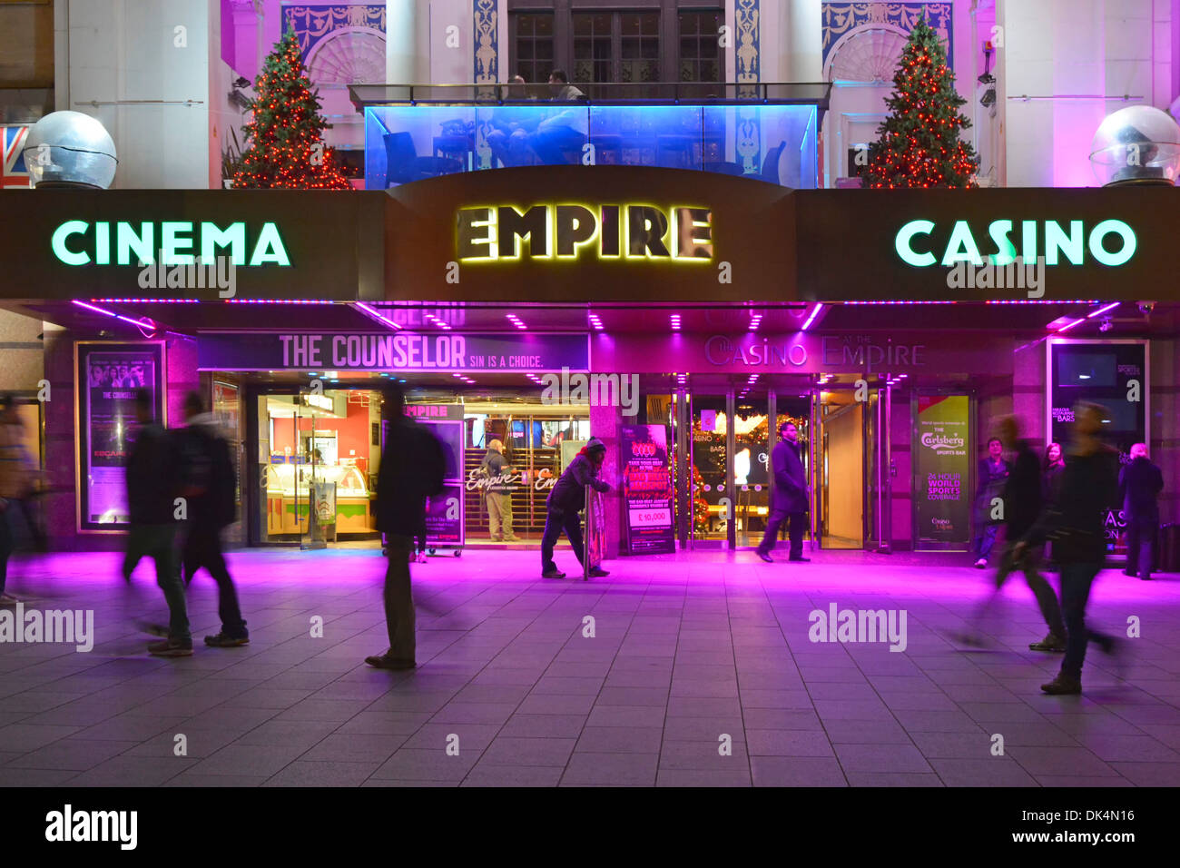 Empire Leicester Square cinema and casino premises with coloured floodlighting - Stock Image