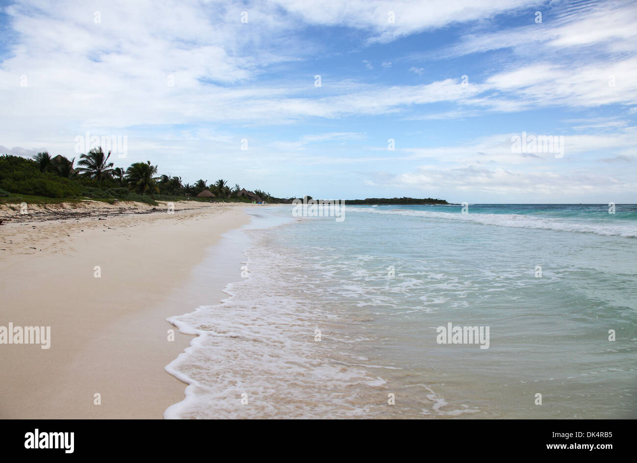 A deserted  beach at Riviera Maya Cancun Quintana Roo Yucatan Peninsular Mexico North America - Stock Image