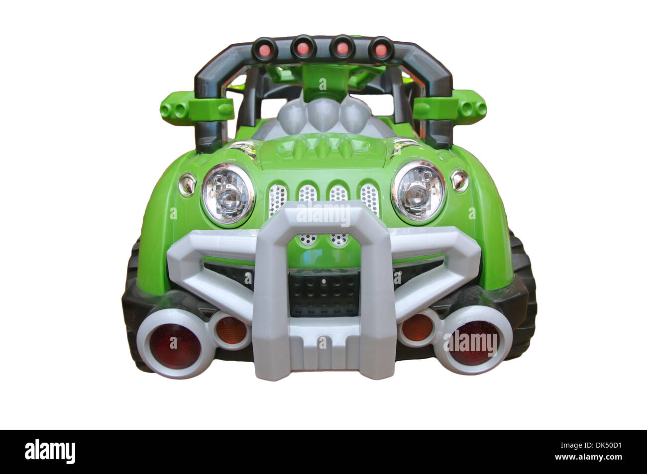 big toy green car on the battery from the front isolated on white background - Stock Image