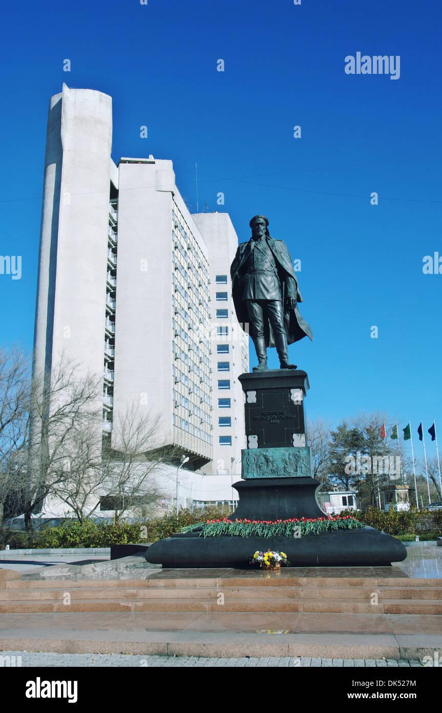Monument to Captain Jacob Dyachenko in Khabarovsk - Khabarovsk city founder - Stock Image