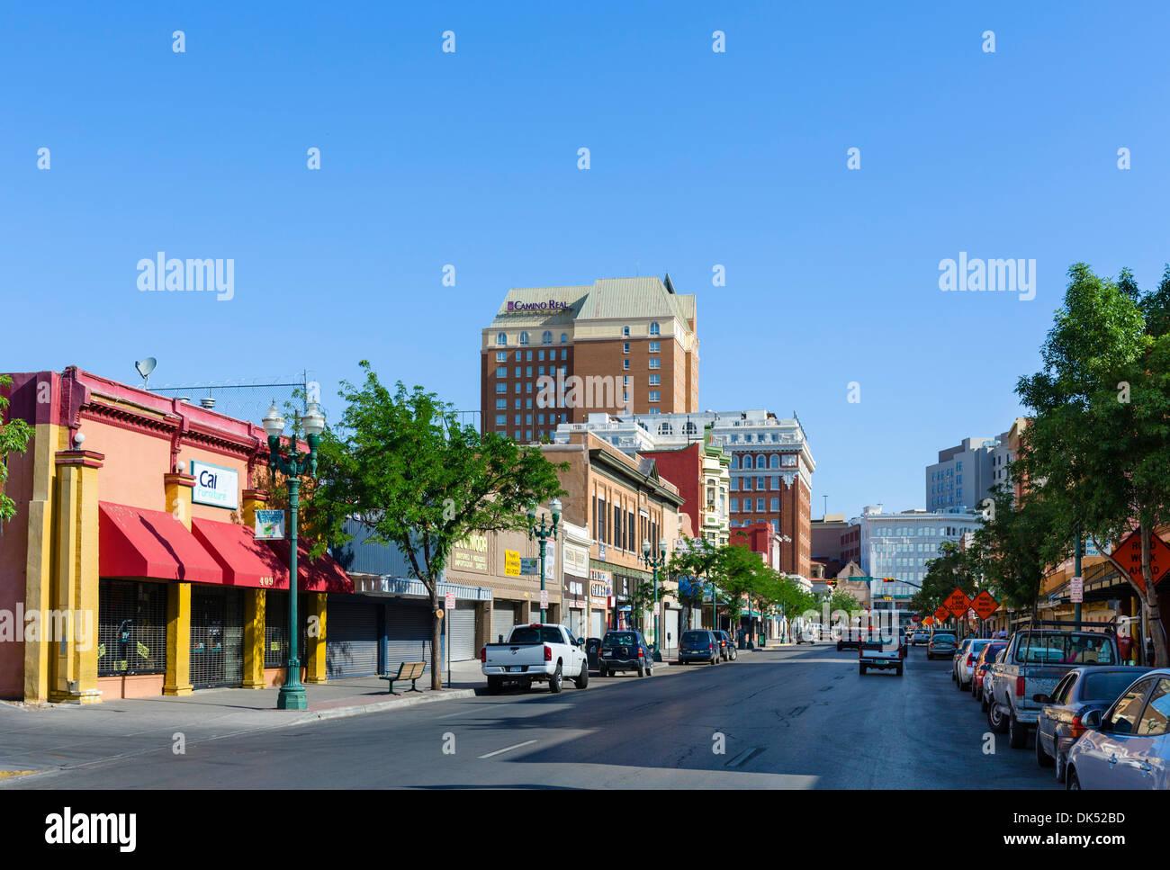 South El Paso Street in downtown El Paso, Texas, USA - Stock Image