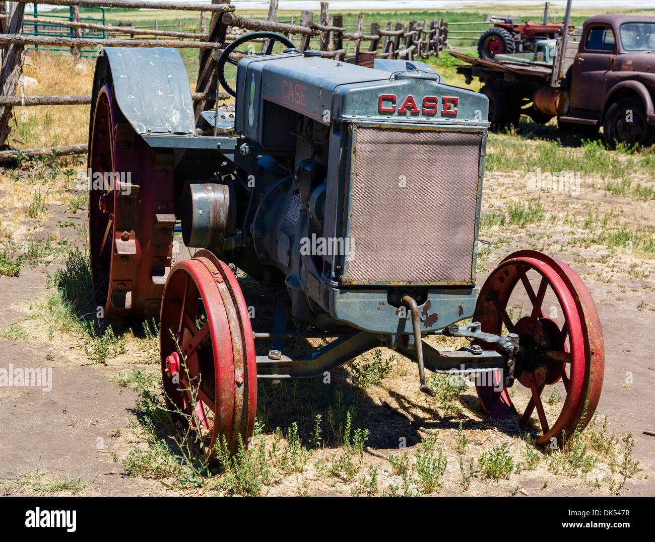 Old Case tractor at the Fielding Garr Ranch, Antelope Island, Antelope Island State Park, Great Salt Lake, Utah, USA - Stock Image