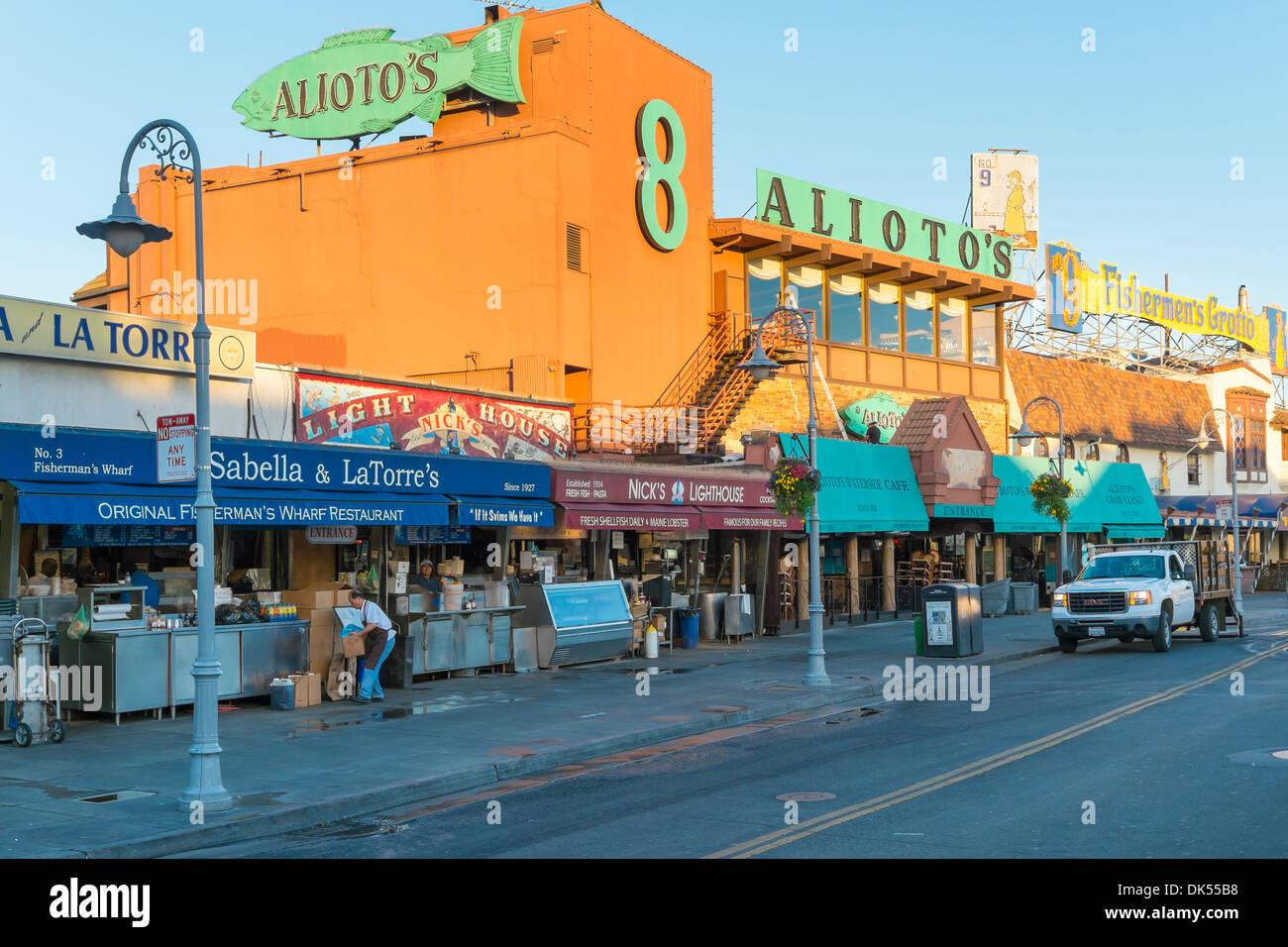 San Francisco street scene. Stores and restaurants opening in the morning at Fisherman's Wharf, San Francisco, California. - Stock Image