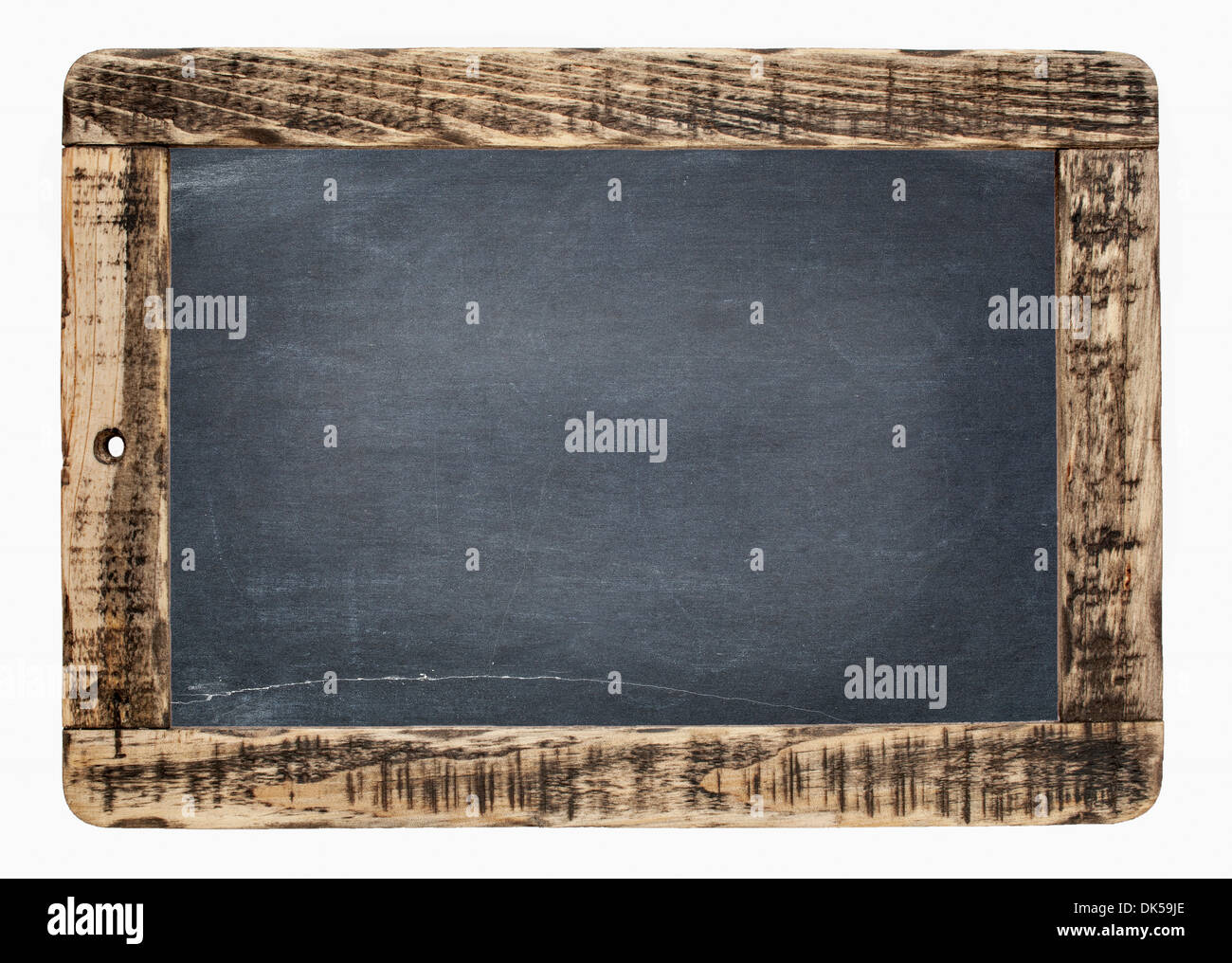blank slate blackboard with chalk texture in rough wooden frame ...