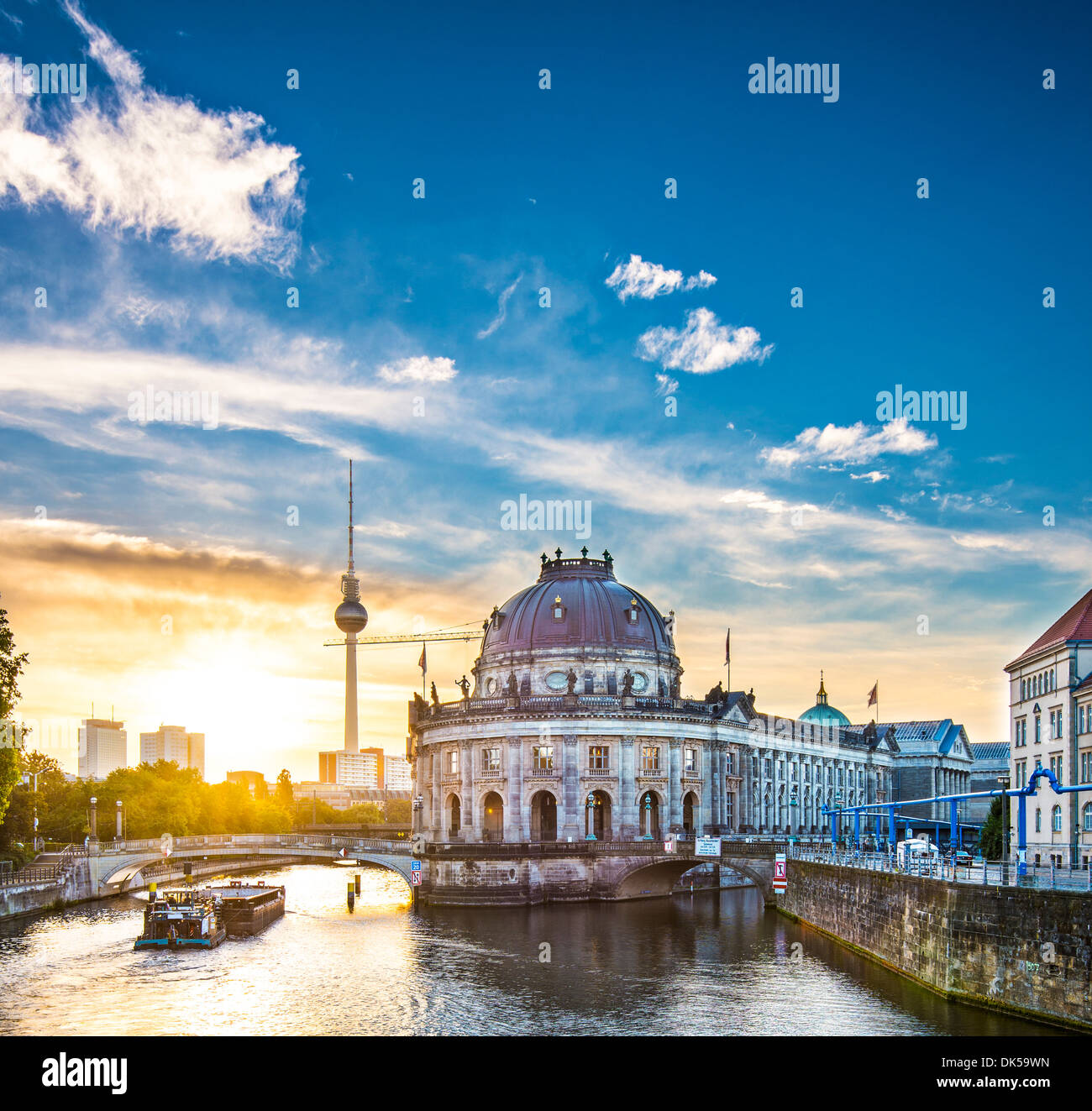 Berlin, Germany view of Museum Island and Television Tower. - Stock Image