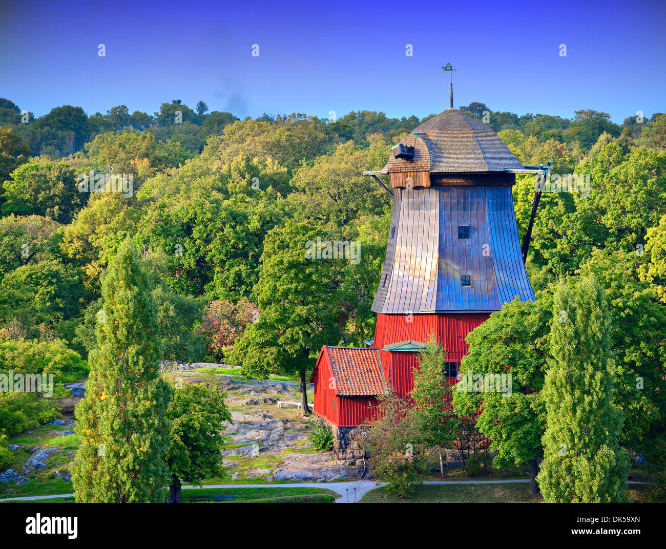 Old farm house in Helsinki, Finland. - Stock Image