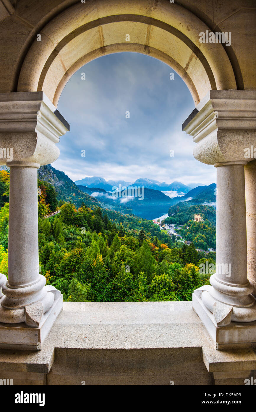 View from Neuschwanstein Castle in the Bavarian Alps of Germany. - Stock Image