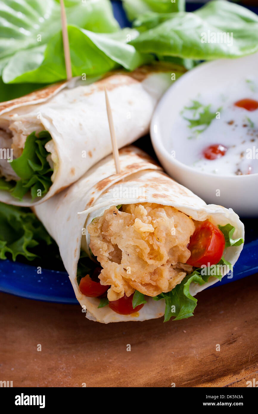 Fried Chicken Salad Sandwich Wrap - Stock Image