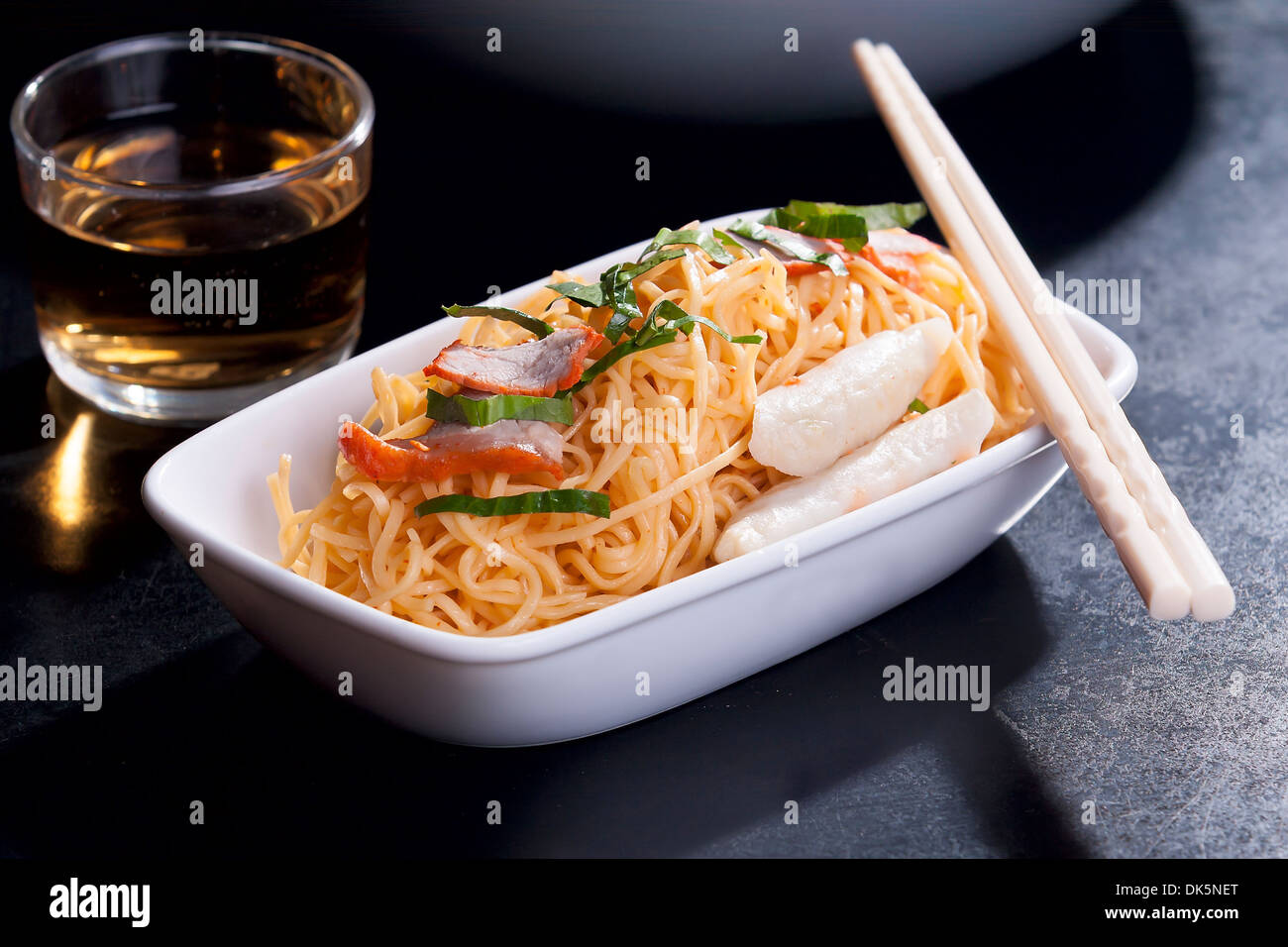Stir-Fried Chinese Egg Noodles Stock Photo