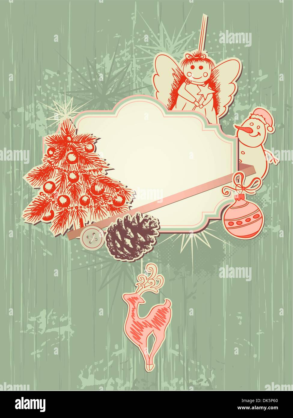 vector scrap booking kit for Christmas - Stock Image