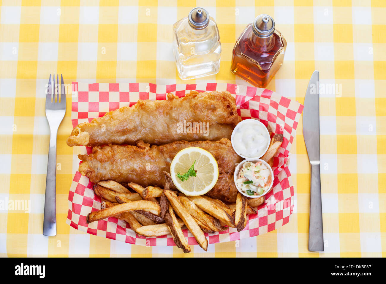 A traditional serving of fish and chips - Stock Image