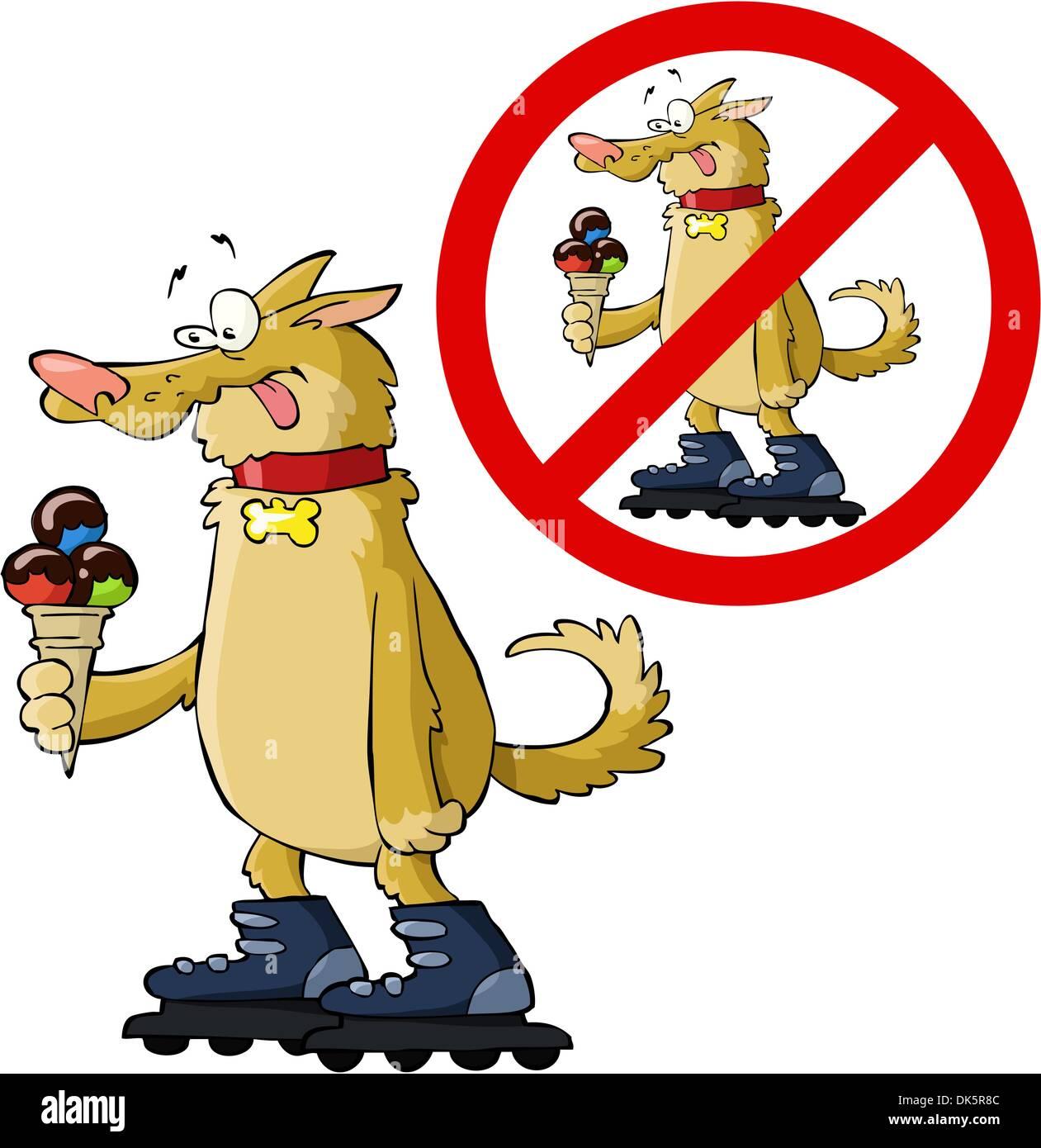 Смешная картинка вход собаке с мороженным и на роликах запрещен, день