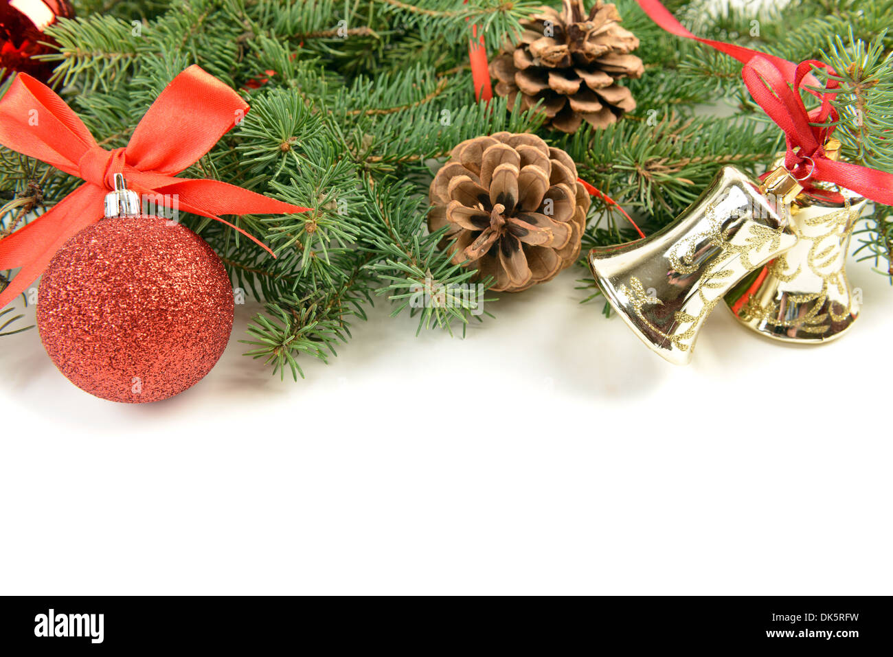 Christmas decoration ball cone pine tree bell - Stock Image
