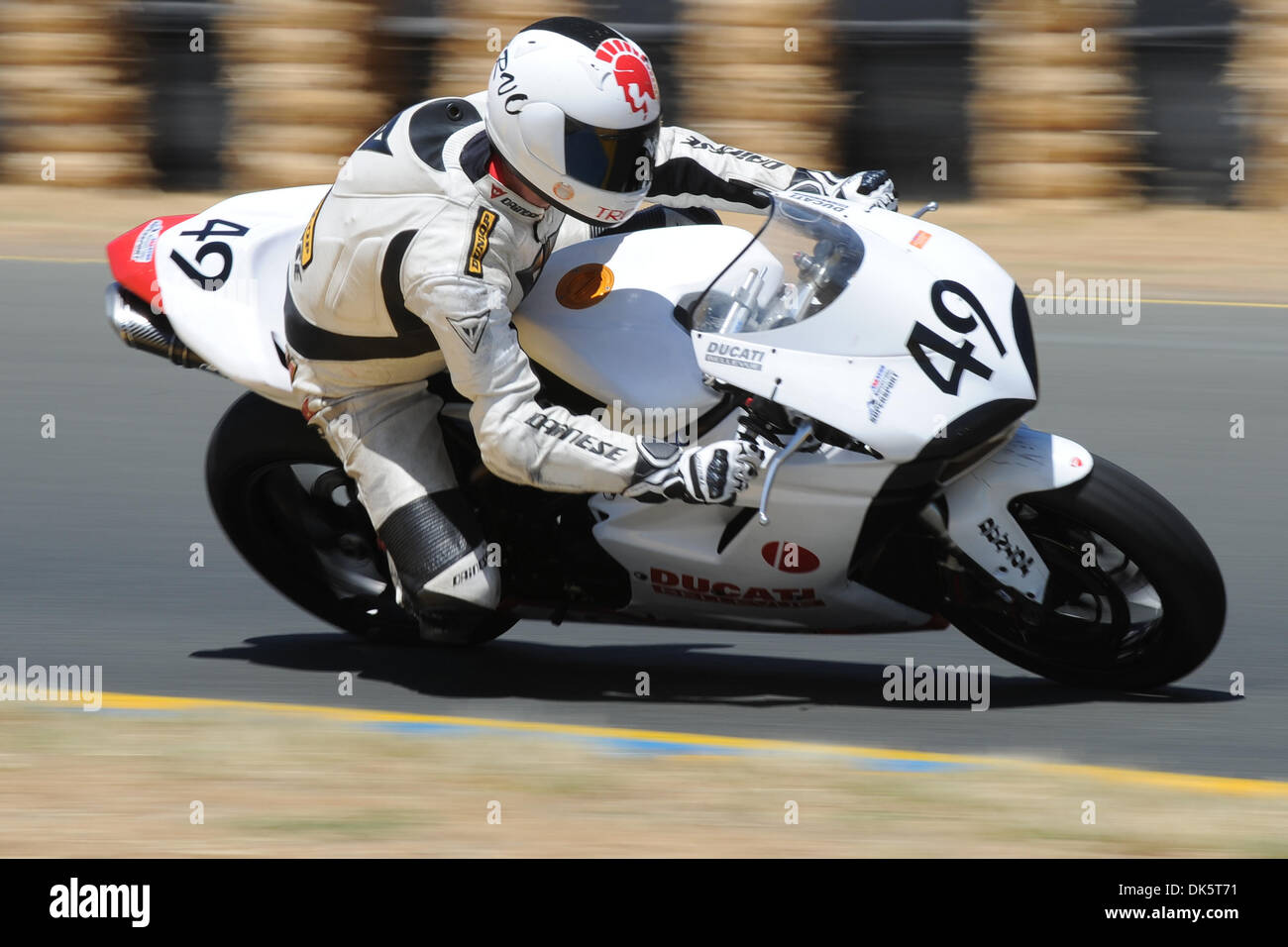 May 13, 2011 - Sonoma, California, United States of America - Howard Crow (49) rides a Ducati 848 during AMA Pro SuperSport practice at the West Coast Moto Jam at Infineon Raceway. (Credit Image: © Matt Cohen/Southcreek Global/ZUMAPRESS.com) - Stock Image