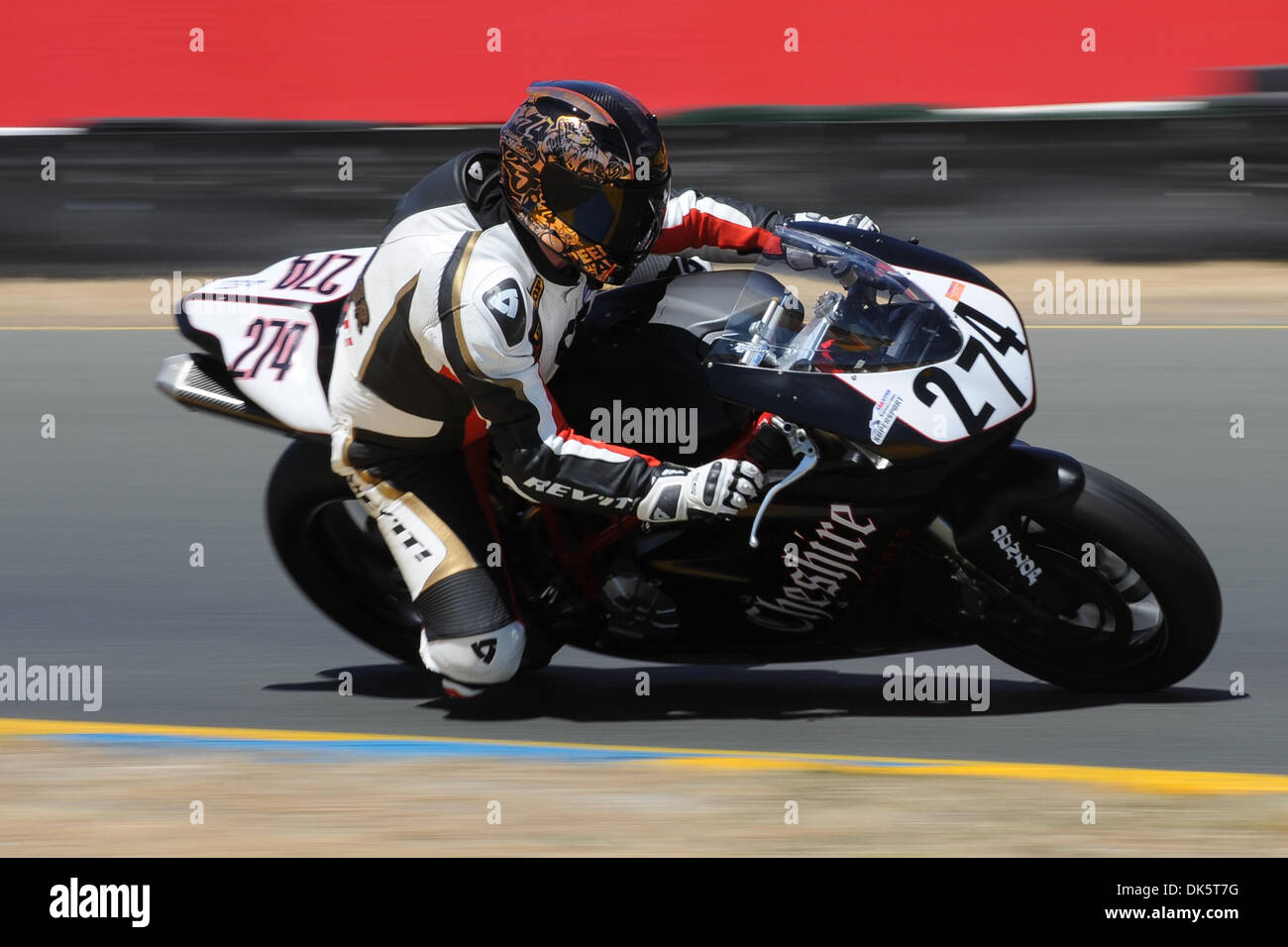May 13, 2011 - Sonoma, California, United States of America - Brian Brewer (274) rides a Ducati 848 during AMA Pro SuperSport practice at the West Coast Moto Jam at Infineon Raceway. (Credit Image: © Matt Cohen/Southcreek Global/ZUMAPRESS.com) - Stock Image