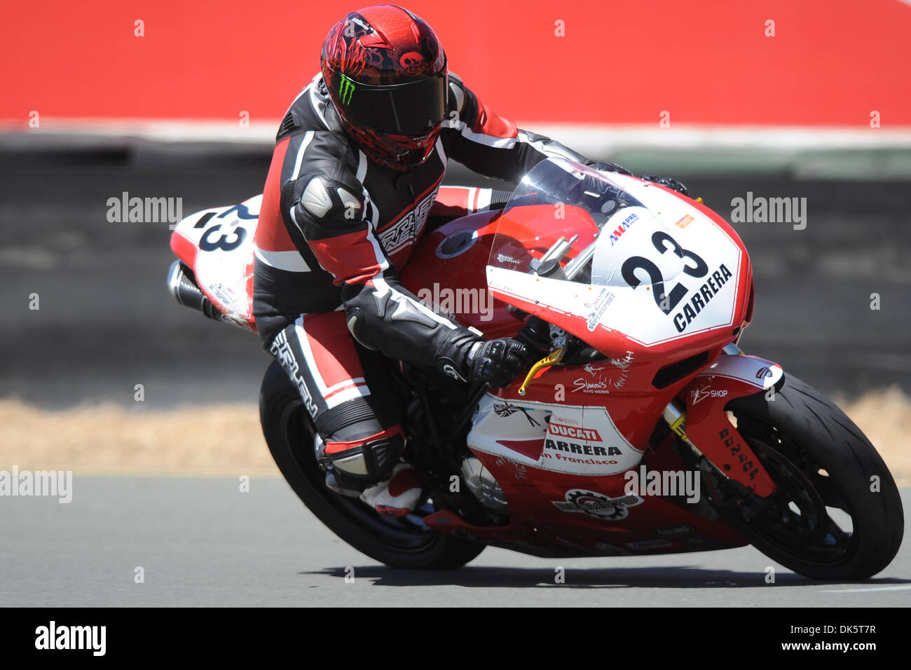 May 13, 2011 - Sonoma, California, United States of America - Jose Flores (23) rides a Ducati 848 during AMA Pro SuperSport practice at the West Coast Moto Jam at Infineon Raceway. (Credit Image: © Matt Cohen/Southcreek Global/ZUMAPRESS.com) - Stock Image
