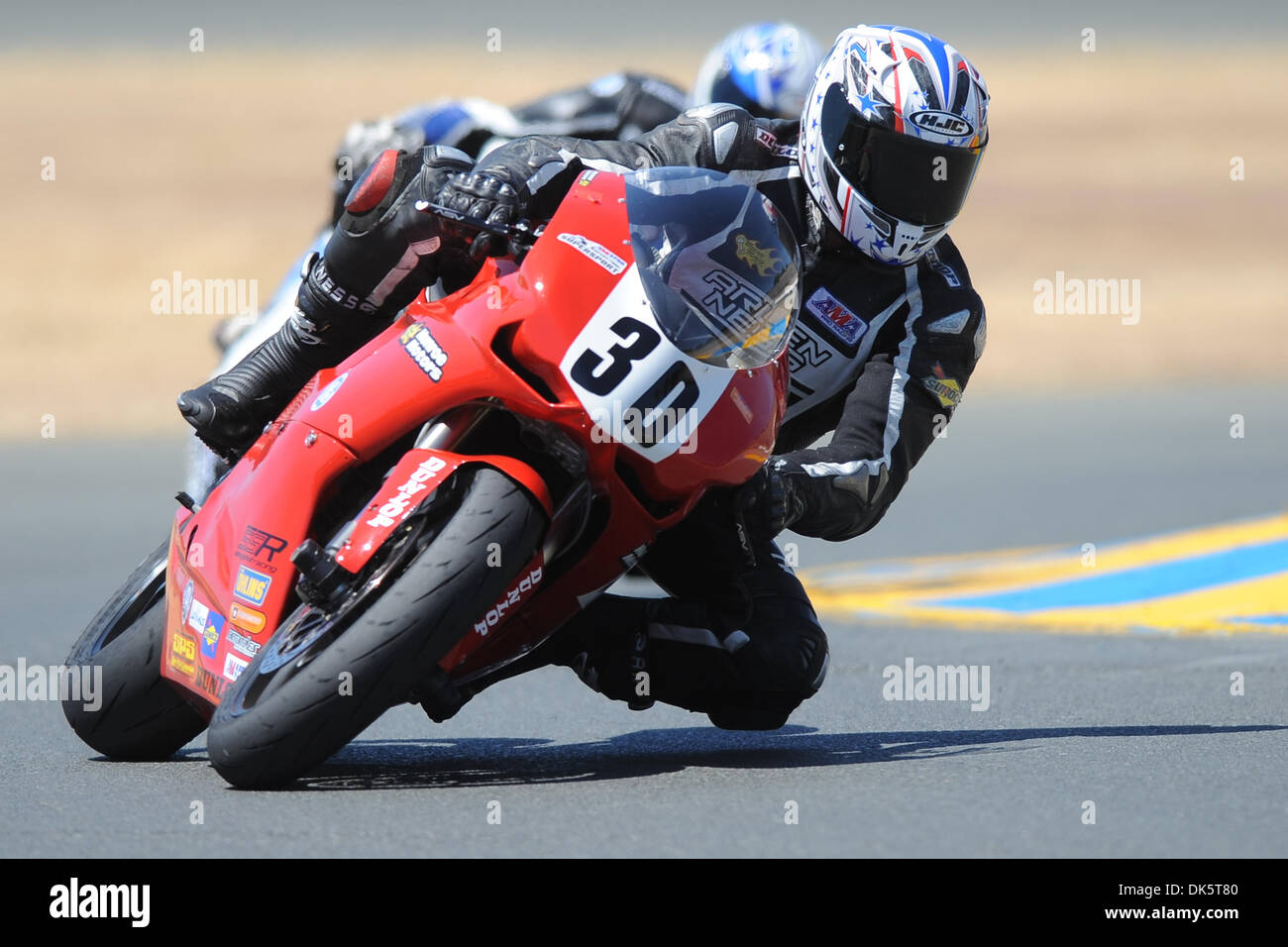 May 13, 2011 - Sonoma, California, United States of America - Nicholas Hayman (30) rides a Ducati 848 during AMA Pro SuperSport practice at the West Coast Moto Jam at Infineon Raceway. (Credit Image: © Matt Cohen/Southcreek Global/ZUMAPRESS.com) - Stock Image