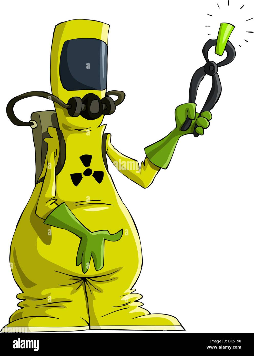 Cartoon man in radiation suit, vector illustration - Stock Image
