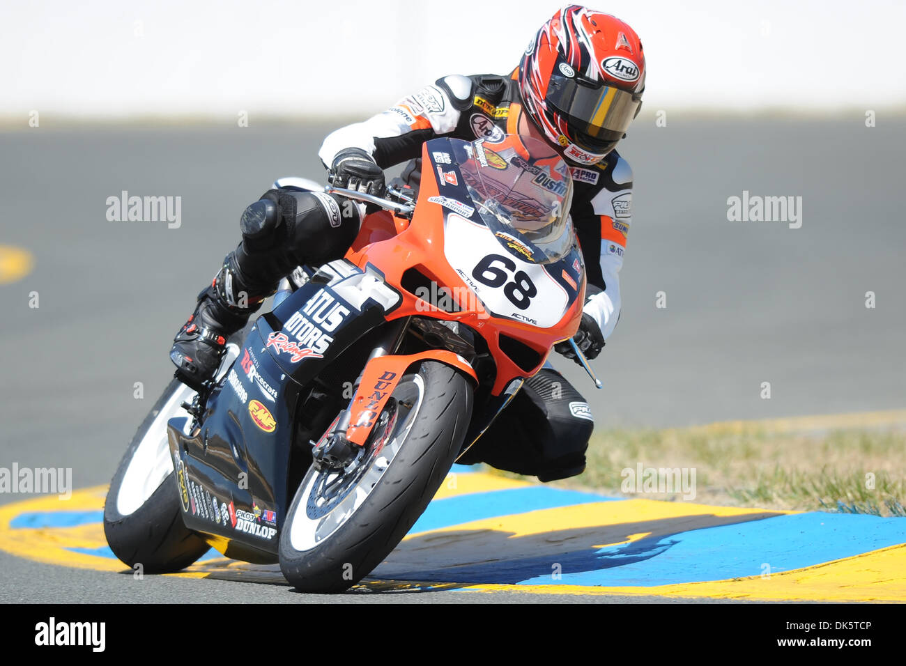 May 13, 2011 - Sonoma, California, United States of America - Dustin Dominguez (68) rides a Ducati 848 during AMA Pro SuperSport practice at the West Coast Moto Jam at Infineon Raceway. (Credit Image: © Matt Cohen/Southcreek Global/ZUMAPRESS.com) - Stock Image