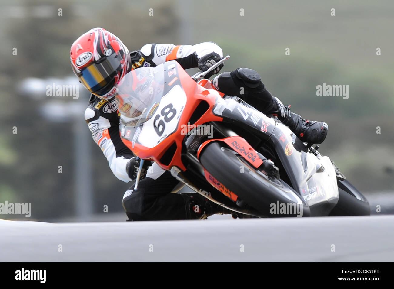 May 14, 2011 - Sonoma, California, United States of America - Dustin Dominguez (68) rides a Ducati 848 during AMA Pro SuperSport qualifying at the West Coast Moto Jam at Infineon Raceway. (Credit Image: © Matt Cohen/Southcreek Global/ZUMAPRESS.com) - Stock Image