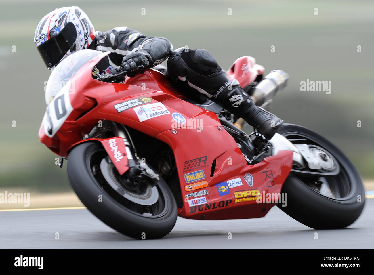 May 14, 2011 - Sonoma, California, United States of America - Nicholas Hayman (30) rides a Ducati 848 during AMA Pro SuperSport qualifying at the West Coast Moto Jam at Infineon Raceway. (Credit Image: © Matt Cohen/Southcreek Global/ZUMAPRESS.com) - Stock Image
