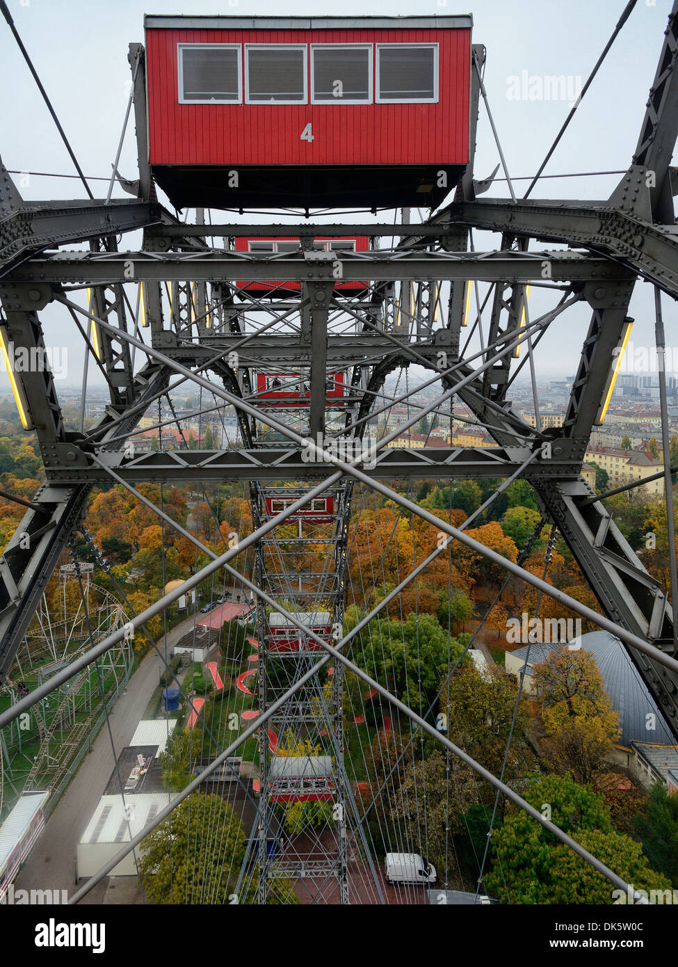 Riesenrad, Prater Wheel, Prater Park, Leopoldstadt, Vienna, Austria - featured in famous scent in the movie The Third Man - Stock Image