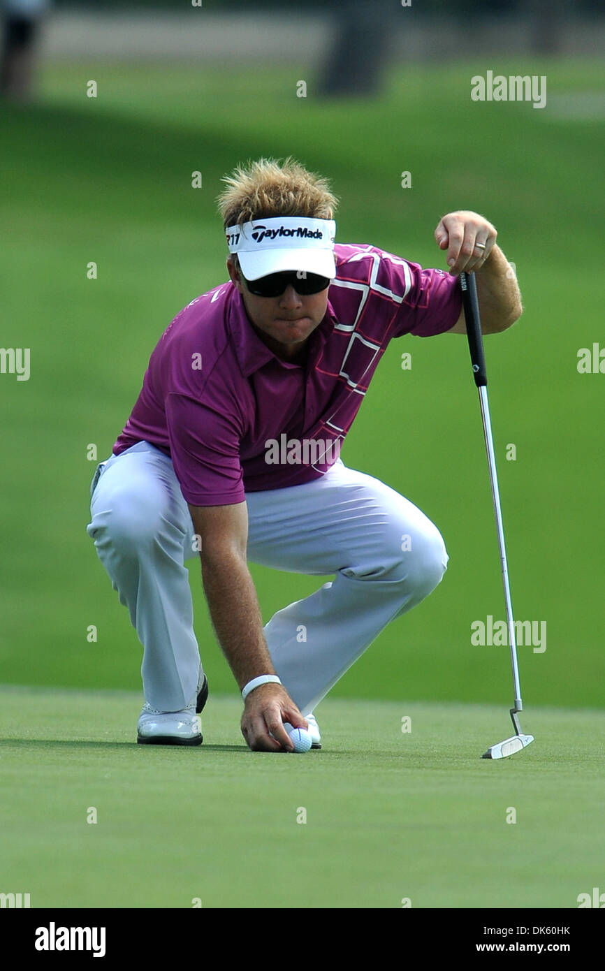 May 18, 2011 - Fort Worth, TX, USA - Brian Gay sets his ball for his upcoming putt attempt during the Pro-Am Day of the Crowne Plaza Invitational at Colonial played at Colonial Country Club in Fort Worth, TX. (Credit Image: © Patrick Green/Southcreek Global/ZUMAPRESS.com) - Stock Image