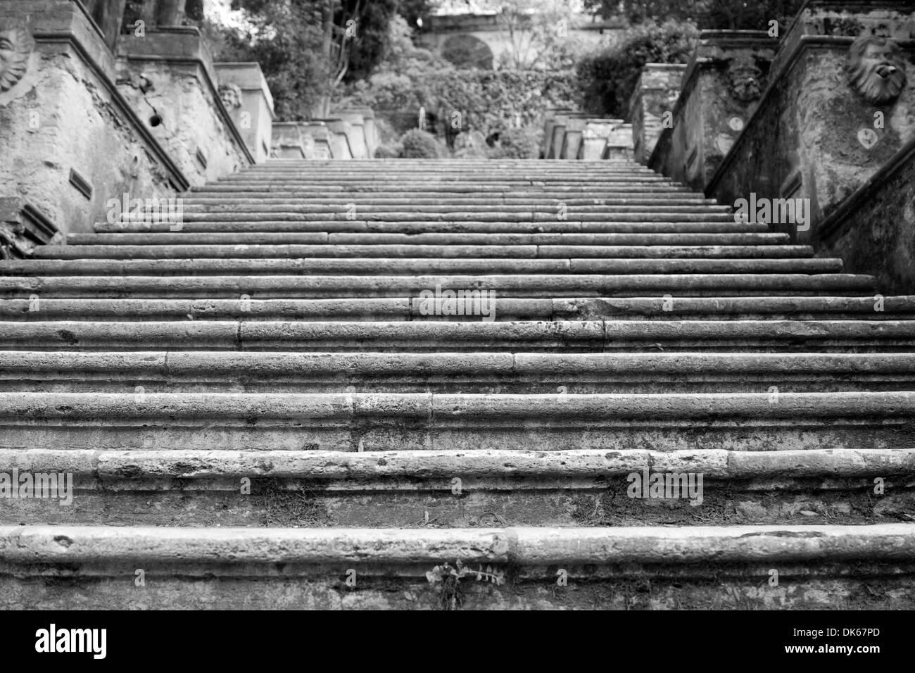 Stone staircase in the garden of Villa d'Este in Tivoli, near Rome, Lazio, Italy - Stock Image