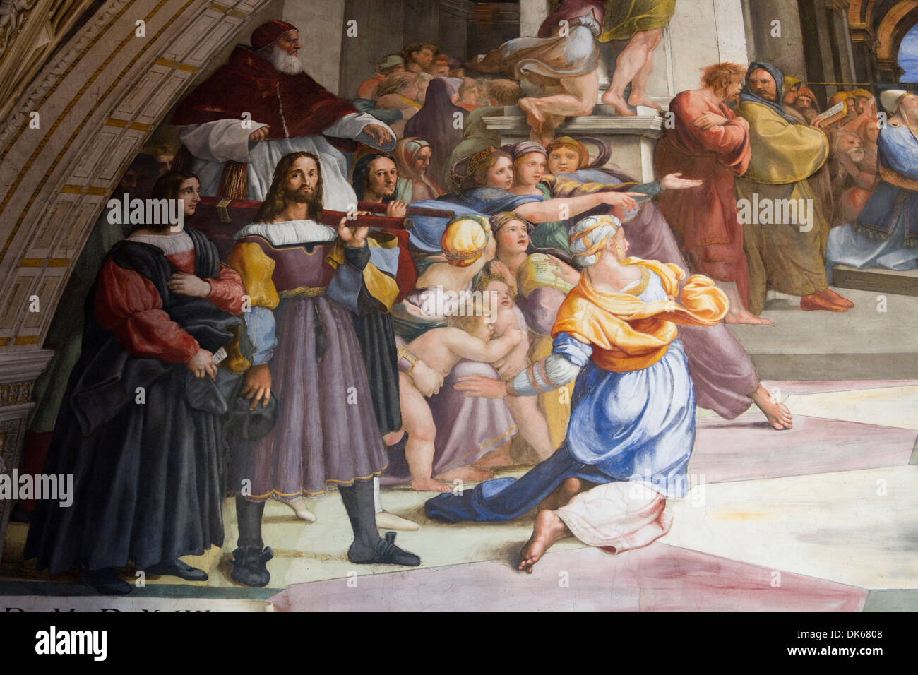 Detail from The Expulsion of Heliodorus from the Temple, a fresco designed and painted by Raphael (Raffaello Sanzio Stock Photo