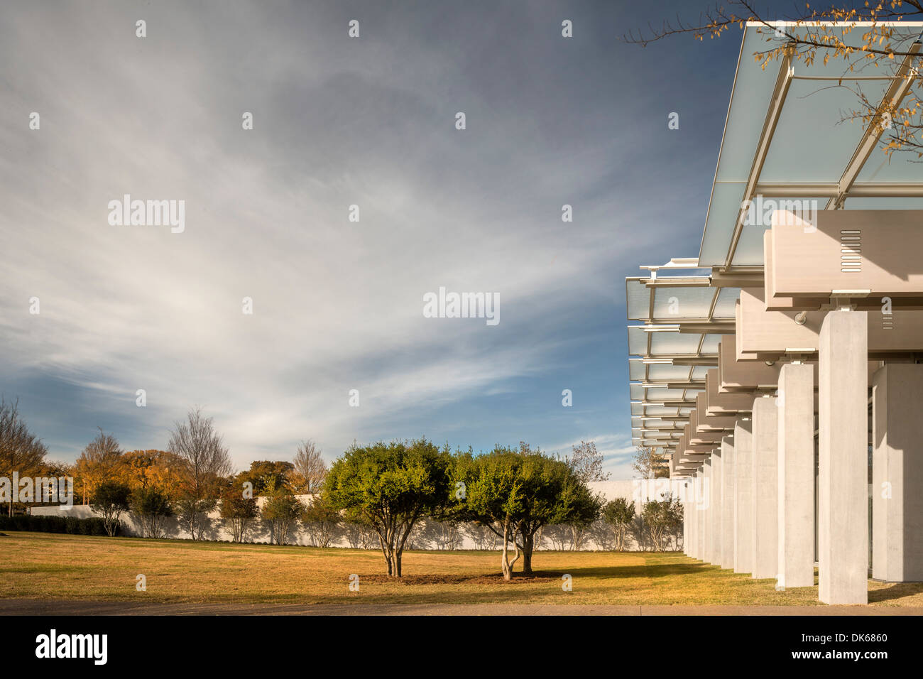 Kimbell Art Museum Renzo Piano Expansion, Fort Worth, United States. Architect: Renzo Piano Building Workshop, 2013. Stock Photo