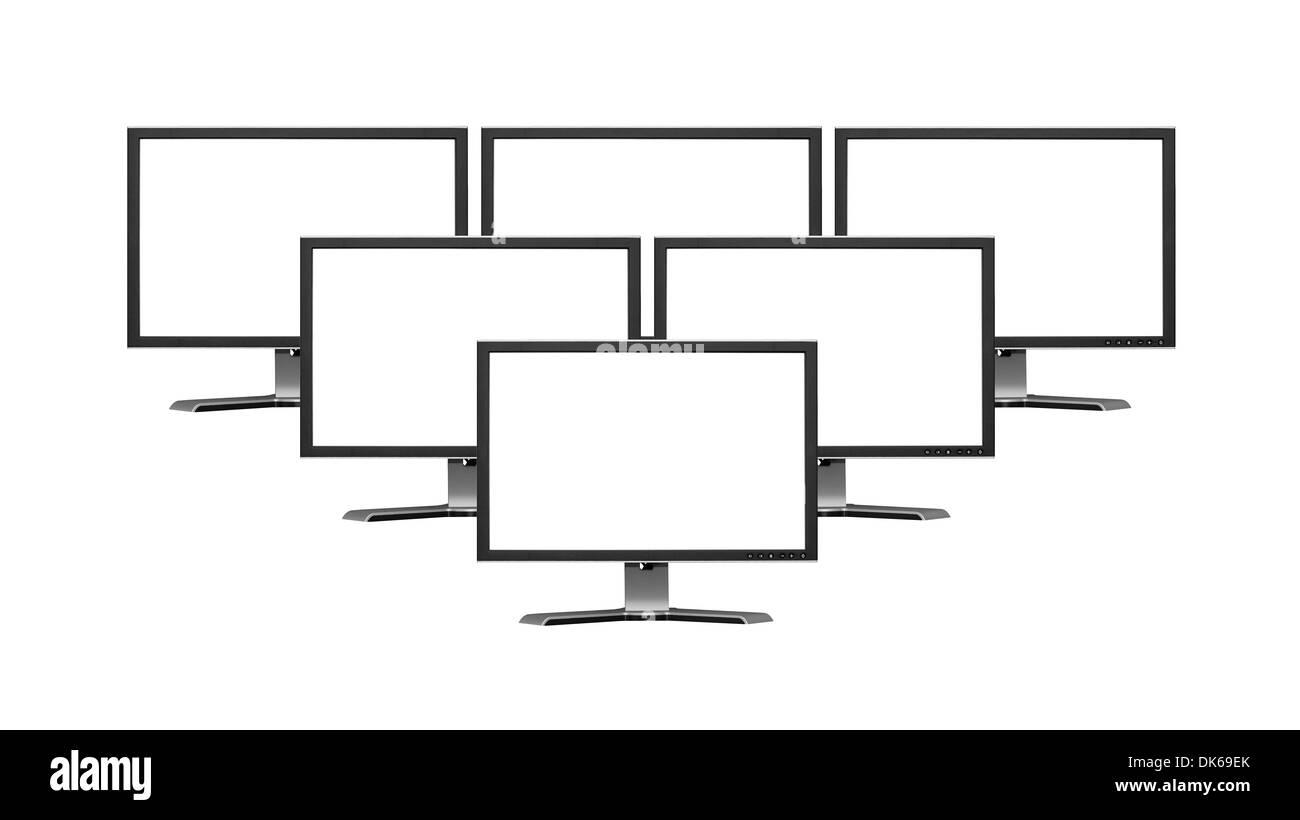 Isolated wide flatscreen monitors on white background - Stock Image