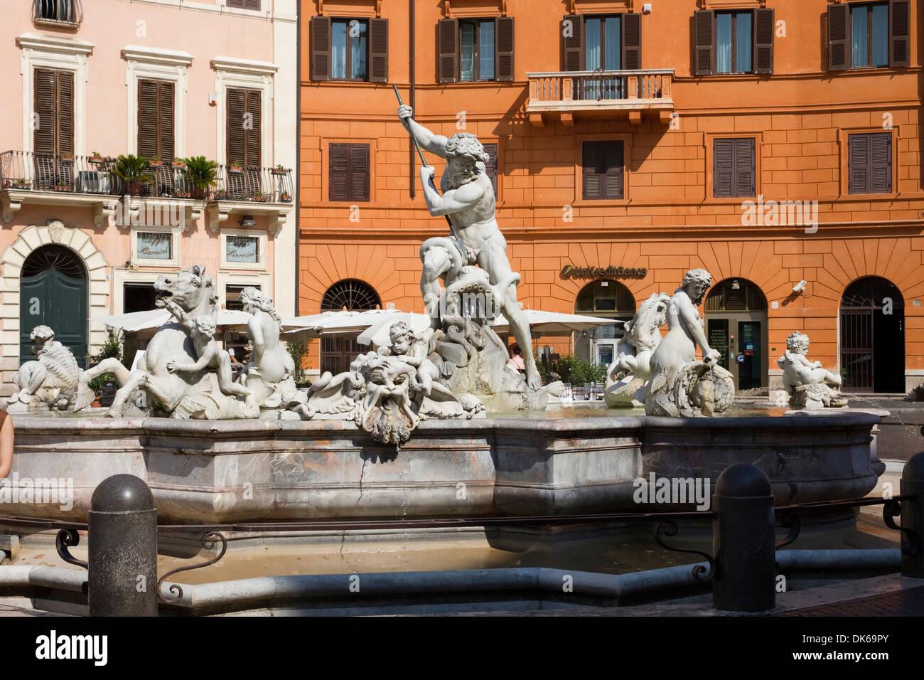 Fontana del Nettuno (Fountain of Neptune) in Piazza Novona, Rome, Lazio, Italy. - Stock Image