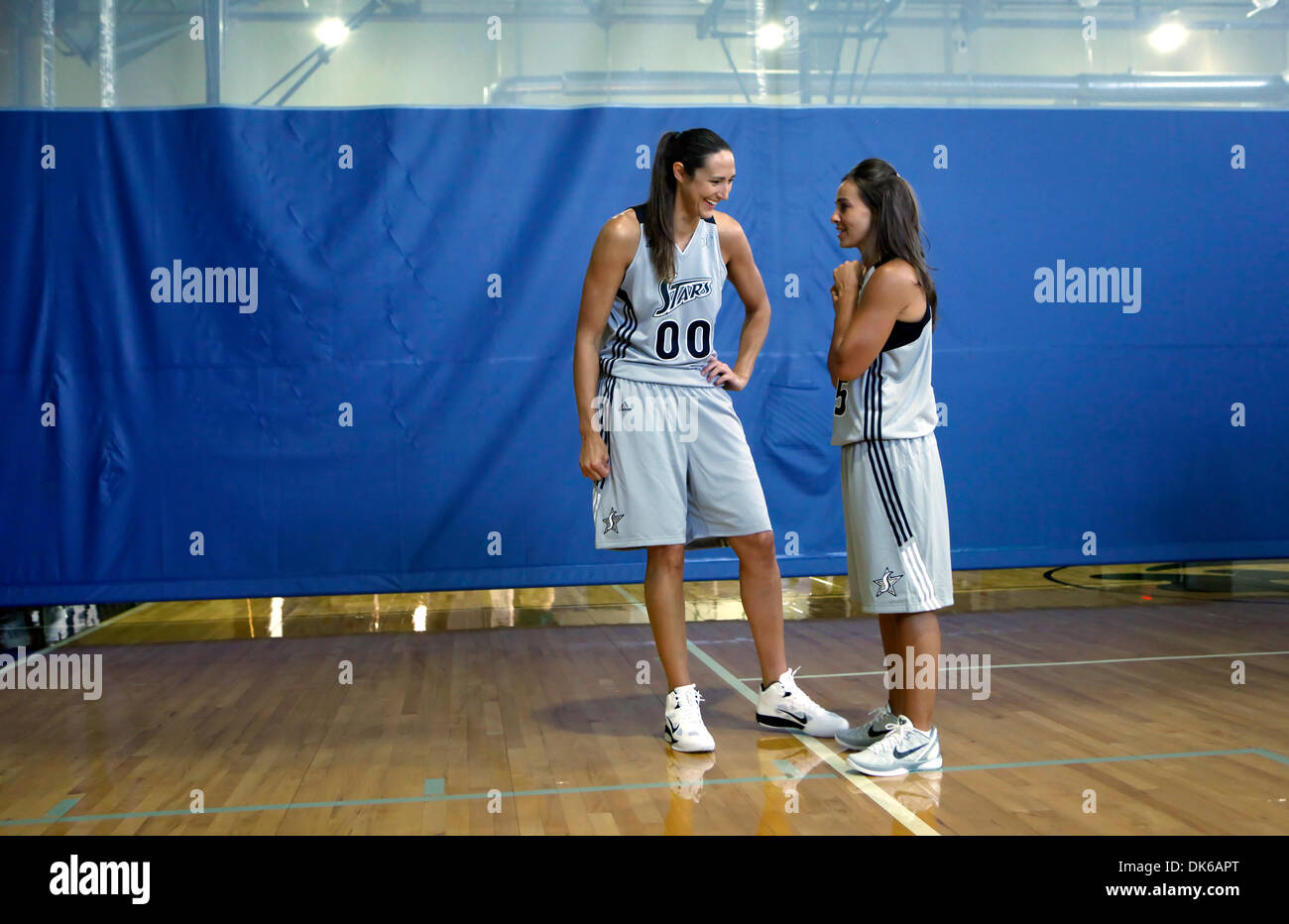 May 19, 2011 - San Antonio, TEXAS, USA - The WNBA's Silver Stars' Ruth Riley, left, and Becky Hammon, talk Wednesday May18, 2011 at their practice facility, the Antioch Baptist Church recreation center, during the team's media day. (Credit Image: © San Antonio Express-News/ZUMAPRESS.com) - Stock Image