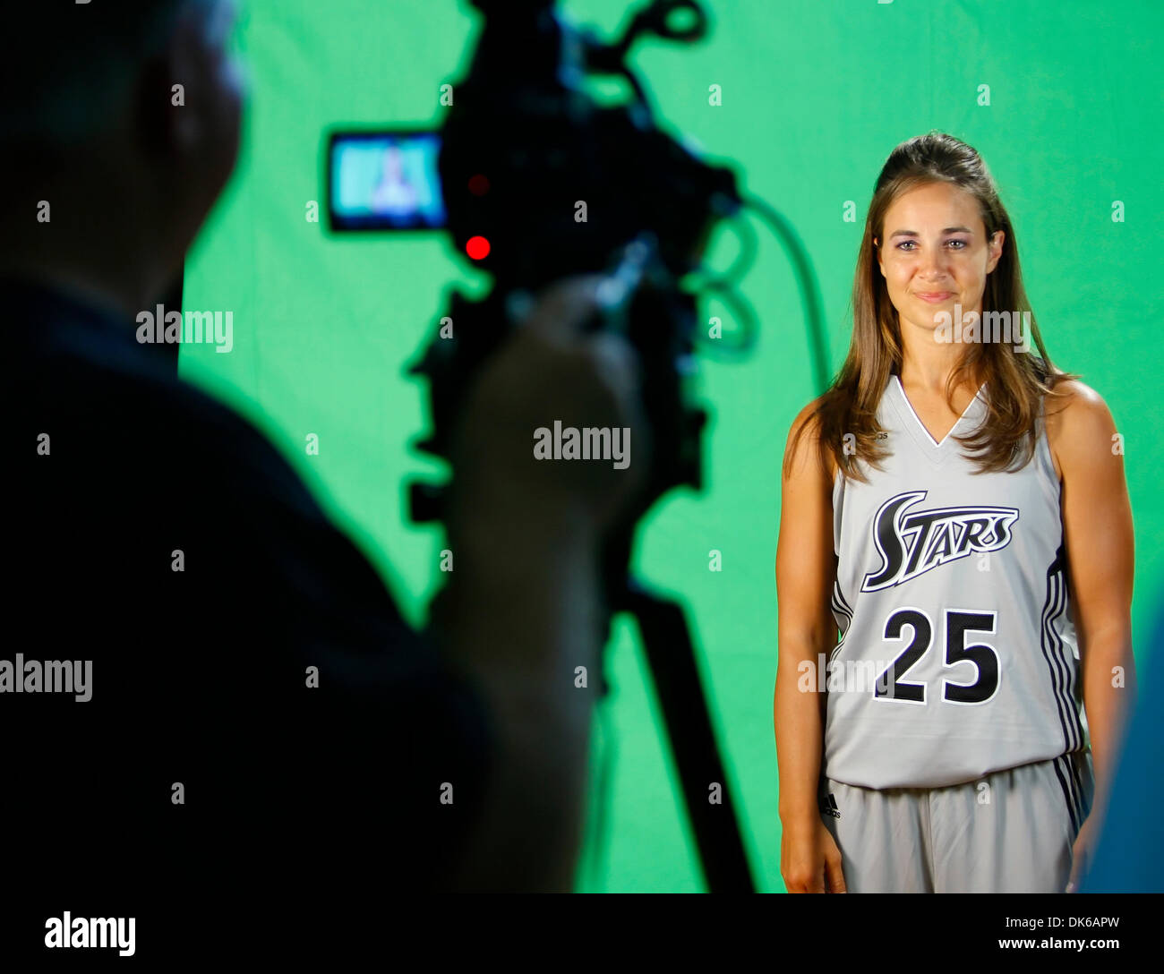 May 19, 2011 - San Antonio, TEXAS, USA - The WNBA's Silver Stars stands in front of a green screen Wednesday May18, 2011 at their practice facility, the Antioch Baptist Church recreation center, during the team's media day. (Credit Image: © San Antonio Express-News/ZUMAPRESS.com) - Stock Image