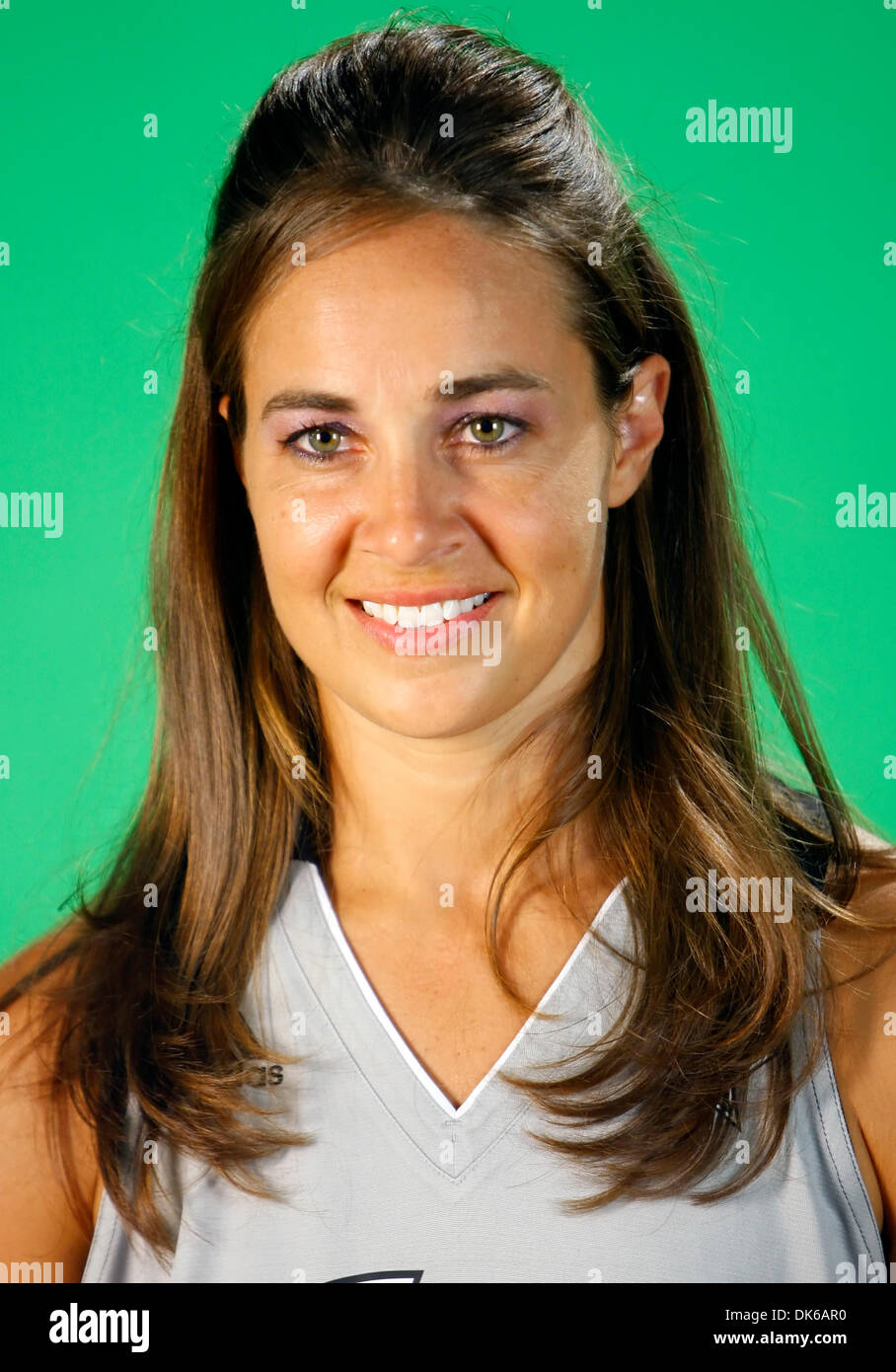May 19, 2011 - San Antonio, TEXAS, USA - The WNBA's Silver Stars Becky Hammon stands in front of a green screen Wednesday May18, 2011 at their practice facility, the Antioch Baptist Church recreation center, during the team's media day. (Credit Image: © San Antonio Express-News/ZUMAPRESS.com) - Stock Image