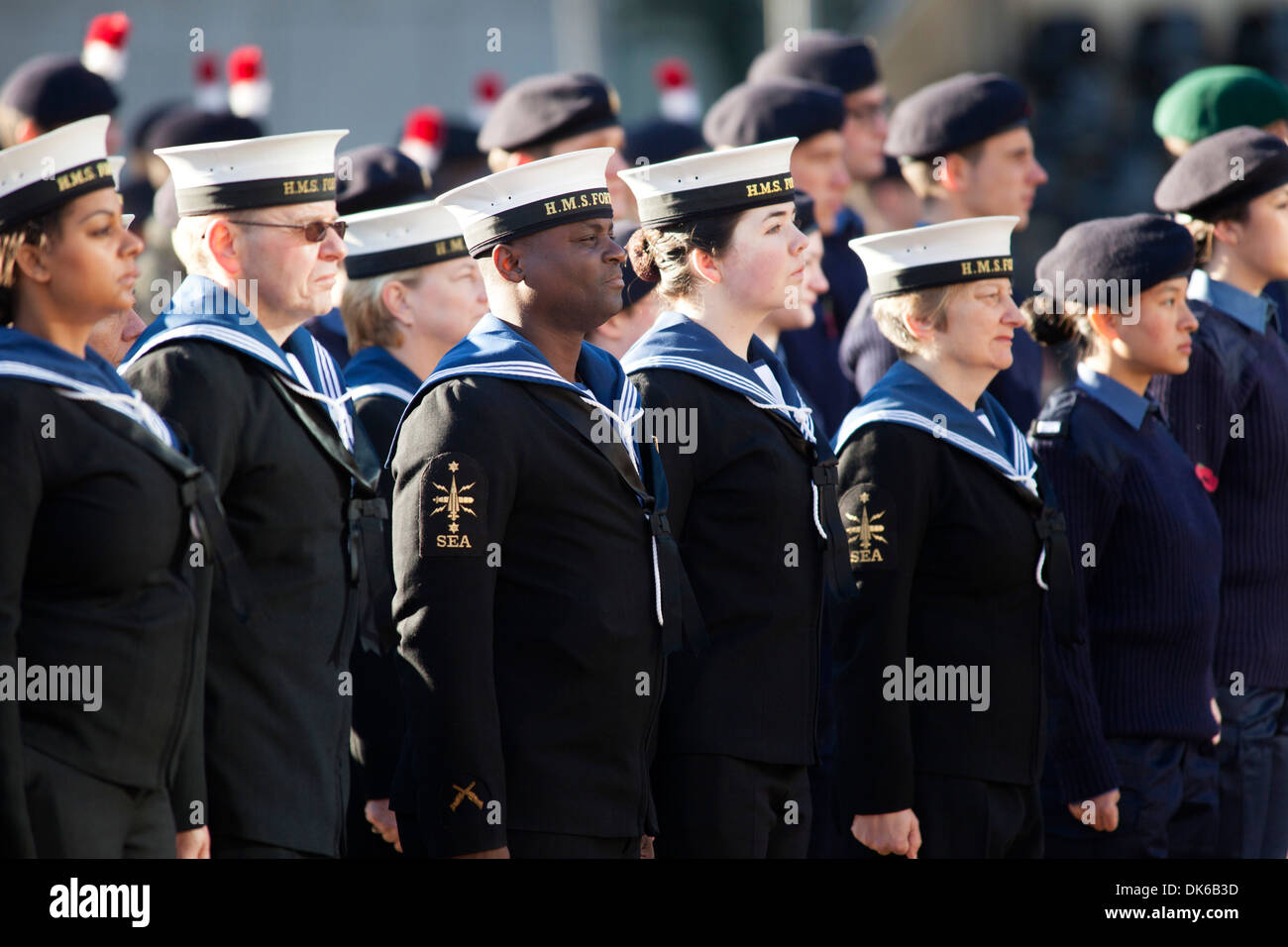 Remembrance Sunday Service, Centenary Square, Birmingham. Pictured, members of the services stand to attention. - Stock Image