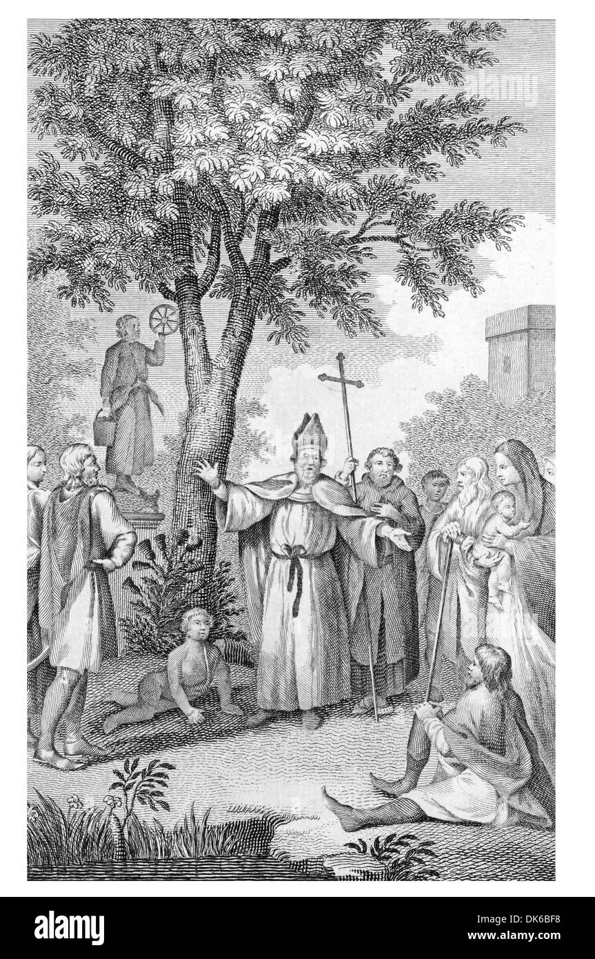 Berinus Converting the Saxons to Christianity Stock Photo