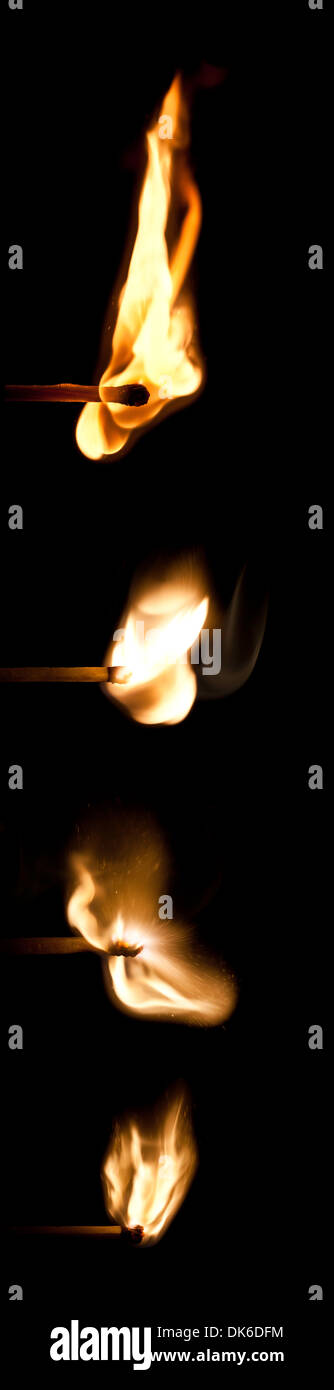 Shapes of fire flames on flammable match. - Stock Image