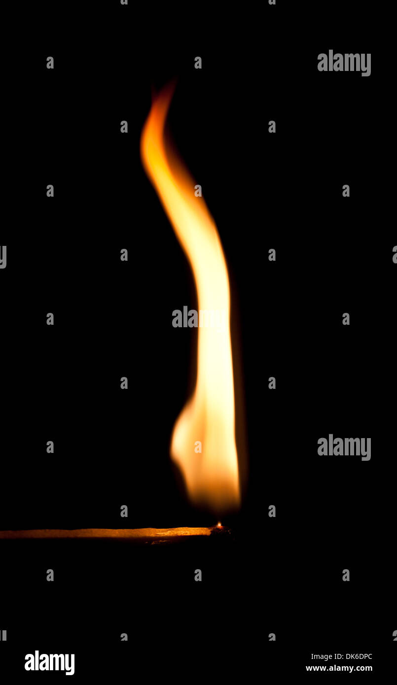 Shape of fire flame on flammable match - Stock Image