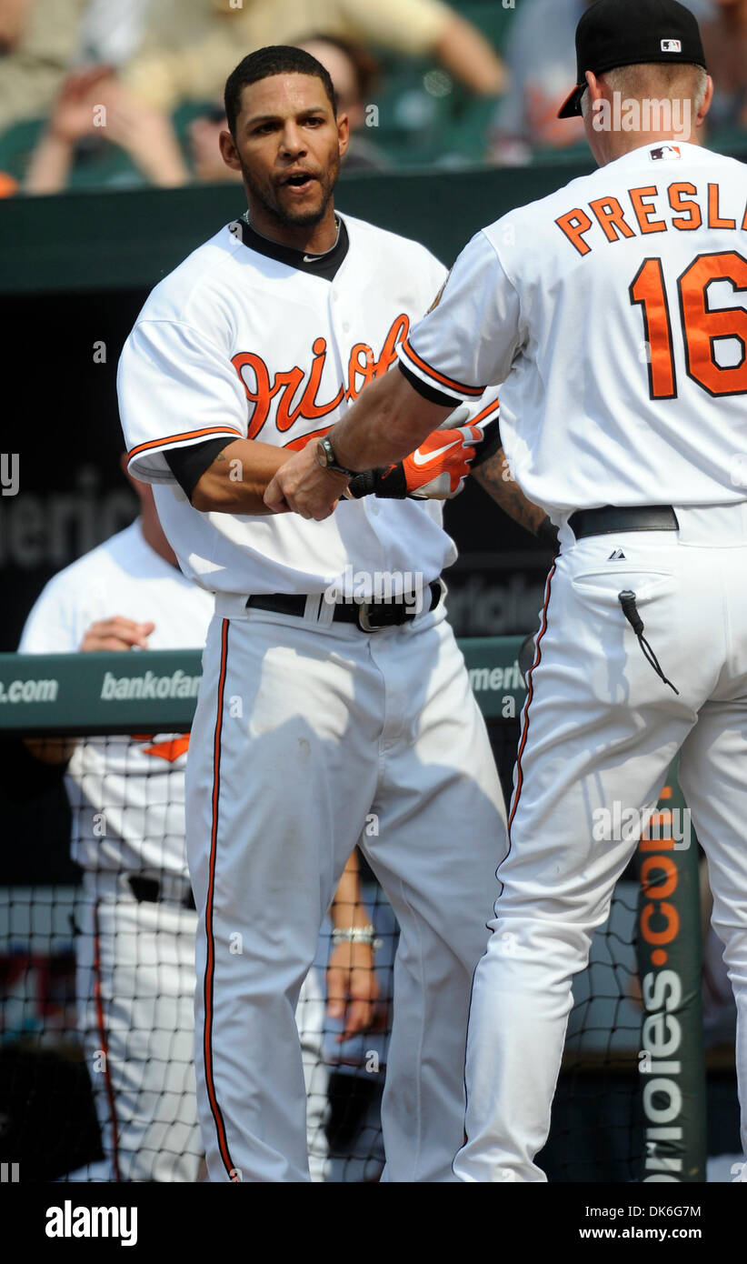 June 5, 2011 - Baltimore, Maryland, U.S - Baltimore Orioles Infielder Robert   Andino (11) expresses his distaste for a call during a game between the Toronto Blue Jays and the Baltimore Orioles, the Blue Jays won 7-4 (Credit Image: © TJ Root/Southcreek Global/ZUMApress.com) - Stock Image